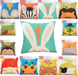 Wholesale pillowcases for kids - Carton Pillowcase linen material cushion cover decorative pillow case sofa seat car pillow cover for kids 45x45cm