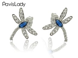 saphir echtes silber Rabatt Pavislady Real 925 Sterling Silber Libelle Ohrring mit Center Blue Sapphire Fine Jewelry