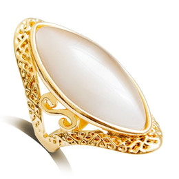 artificial jewelry wedding Promo Codes - Hollow Out Carving Oval Vintage Bohemia artificial Women Opal Ring Rose Gold Color Oval Crystal Exaggerated Decorate Stone Big Ring Jewelry