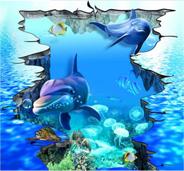 3d flocking wallpaper Coupons - HD large 3D cracked sea dolphins Underwater World outdoor painting vinyl wallpaper