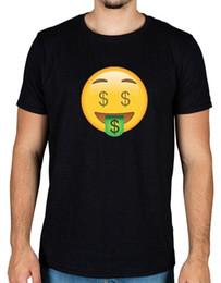 T-shirts emoji gesichter online-Geld Gesicht Emoji T-Shirt Symbol lustige Neuheit Android Apple Racks Dollar Lächeln