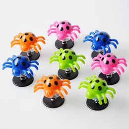Wholesale Boy Games Kids - Spider Launcher With Spring Plastic Cement Cute Child Kid Gift Bounce Toy Sucker Bound Novelty Games Hot Sale 0 6am V
