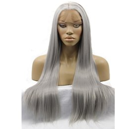 Parrucche grigie lunghe online-Hand Tied Natural Long Silky Straight Silver Grey Color High Density Heat Resistant Synthetic Lace Front Wigs