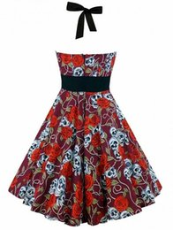 Wholesale Rose Print Skirt - New to Europe and the United States skeleton dress fashion party 100 fold the skull rose floral print lady skirt.