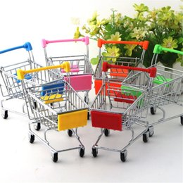 Wholesale mini shopping carts wholesale - Mini Supermarket Shopping Cart Trolley Toy Creative Phone Pen Organizer Storage Box Collect Tools For Kids Children Toys Gifts