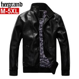 Wholesale Motorcycle Jackets Leather Classic - Wholesale- HEE GRAND 2017 Male Fashion Leather Velvet Motorcycle Jacket High Quality Classic Leather Jacket M~5XL MWP459