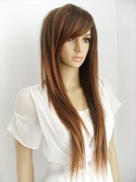 Canada New Fashion Long Brown Mix Droite Femmes Lady Cosplay Anime Cheveux Perruque Perruques cheap anime cosplay brown hair Offre