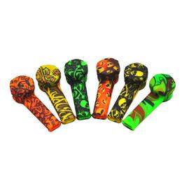 Wholesale reggae caps - Reggae Colo portable Silicone Smoking Pipe Funny Skull alienPattern hand pipe with Cap Bowl Cigarette Filter Holder Silicone Tobacco Pipe