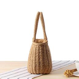 Piccolo tote di paglia online-Vintage Summer Women Paglia Piccola borsa con coulisse Shopping Tote Ragazze Beach Shoulder Zipper Basket Borse borse a mano da donna