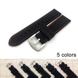 Wholesale 22mm Rubber Watch - 20 22mm 24mm Silicone Watch Band High Quality Wristwatch Strap On For Hours Rubber Watch Straps Free Shipping