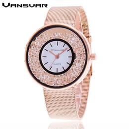 banda de malha de relógio de aço inoxidável Desconto Vansvar marca de moda rosa de ouro banda de malha de prata de quartzo mulheres de aço inoxidável de luxo relógio de strass