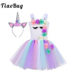 TiaoBug девушки мультфильм 3D цветок пастель Радуга Принцесса сетки пачка платье с Обручом для волос дети косплей партии Хэллоуин Xmas костюм от
