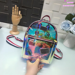 Wholesale Halloween Jelly - backpacks designer 2018 fashion women lady jelly bags laser rucksack bag charms Handbags Brand Luxury bag