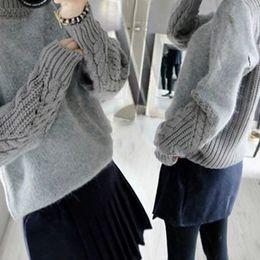 940fa7ef96e3 2018 donne maglia maglione autunno colore solido grigio manica lunga  pullover casual cotone maglione a collo alto top abbigliamento femminile  fs5688