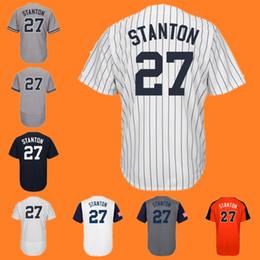Wholesale Wbc Jersey - Giancarlo Stanton New York 2017 All-Star Worn Game WBC Baseball Jersey White Grey Black giancarlo stanton Jerseys
