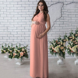 Wholesale 2xl maternity clothes - Sleeveless Summer New Maternity Lace Dress Women Clothes Photography Props Elegant Pregnant Long Pink Dresses