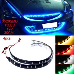 Wholesale Led Strip Lights Motorcycle - 4pcs 30cm 12V 15 LED Car Auto Motorcycle Truck Flexible Strip Light 3528 SMD Waterproof Strip Lamp