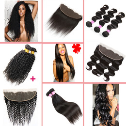 Wholesale Medium Brown Lace Closure - 8A Brazilian Hair Bundles with Frontal Body Wave,Straight,Kinky Curly Virgin Hair Human Hair Weaves and Ear to Ear Lace Frontal Closure
