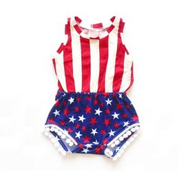 Wholesale Design Romper Infant - fashion design Rompers infant Girl Summer Vest Red White Striped Stars Romper baby clothes Jumpsuits Rompers Baby Clothing 1912