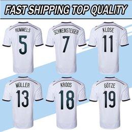 Wholesale German Greens - Thailand Quality 2014 world cup soccer jerseys. world cup Home OZIL MULLER GOTZE HUMMELS KROOS BOATENG REUS GERMAN JERSEYS football shirt