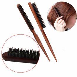 Wholesale Natural Wood Bristle Brush - Wood Handle Salon Natural Boar Bristle Hair Brush Fluffy Comb Hairdressing Barber Tool