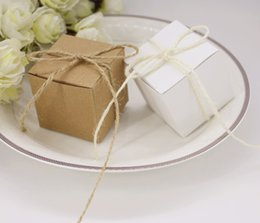 print squared paper Promo Codes - Craft Kraft Paper Candy Boxes New Square Style Chocolate Gift Boxes With Linen Rope Wedding Favors