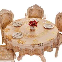mantel japonés Rebajas 1 UNIDS estilo europeo paño de mesa de estampación en caliente 12 diseño impermeable a prueba de aceite limpie la cubierta de la mesa elegante ronda hogar mantel