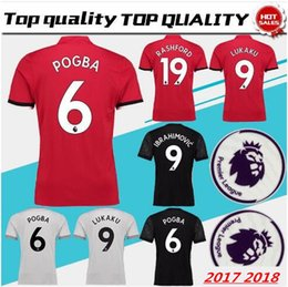 8d0c84c44a POGBA Home Red Soccer Jersey 17 18 tiene parches Premier League LUKAKU  fuera camiseta negra de fútbol 2018 RASHFORD third Football shirts
