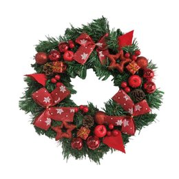 Wholesale merry christmas wreath - 2018 New Arrival DIY Merry Christmas Wreath 40cm Beautiful Door Decorations Bowknot New Year Ornament Drop Shipping ap1027