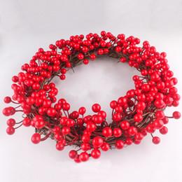 decorazione candela rossa Sconti Nuova ghirlanda artificiale bacca rossa ghirlanda secca fiore ghirlanda porta bacca ghirlanda candela giardino decorazioni natalizie regalo