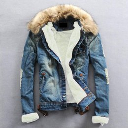 Wholesale Fur Collar Jackets - Plus Size 2017 Winter warm Denim Jacket Men Clothing Jeans Coat Men Casual Outwear With Fur Collar Wool Thick Clothes