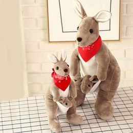 Wholesale Toys Kangaroos - 35cm 75cm Kangaroo Plush Toys Australia Lovely Mother and Son Kangaroo Carrying A Baby Plush Doll Kids Toys Stuffed Animals VE0474