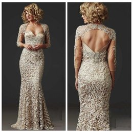 Wholesale formal evening dress lady - Vintage Lace Mermaid Mother of the Bride Dresses Long Sleeve 2018 Beads Ladies Formal Dress Floor Length Champagne Stunning Evening Gowns