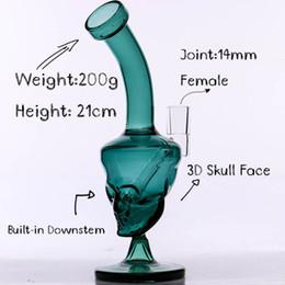 2019 equipamento de face Bongo de vidro de face de caveira Mini 8 '' óleo verde dab Rig Joint 14mm downstemless pronto para uso 2018 novo lançamento equipamento de face barato