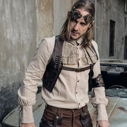 704a42fc1d699 2018 gothic männer weste Steampunk Gothic Vintage Kaffee Sleeveless Männer  Mantel Weste Steampunk Vintage Kurze Männer
