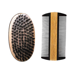 Wholesale boar brushes - Boar Bristle Hair Beech Wood Militery Palm Brush with Green Sandalwood Buffalo Horn Pocket Hair Beard Comb Hair Grooming Tool