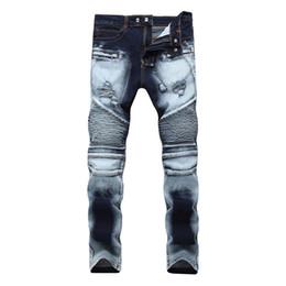 Wholesale Men Wearing Holes Shorts - Fashion Distressed Ripped Skinny Jeans Hole Street Wear Mens Shorts Jeans Slim Biker Causal Mens Denim Pants Hip Hop Men Jeans