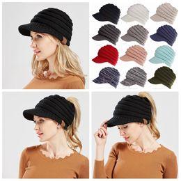 Wholesale woman berets - 12colors Women Knitted CC ponytail caps Winter Warm Beret Hat Crochet Ski Baseball Beanie Brim Cap lady solid hats FFA570 16PCS