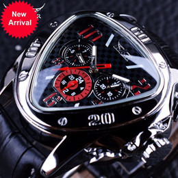 Wholesale Mm Racing - Jaragar Sport Racing Design Geometric Triangle Design Genuine Leather Strap Mens Watches Top Brand Luxury Automatic Wrist Watch