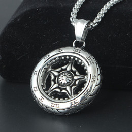 Wholesale Pendant Metal Pearl - Punk Wheel Tire Pendant Necklace With Biker Roman Number Metal Necklaces Retro Biker Jewelry For Men Gift