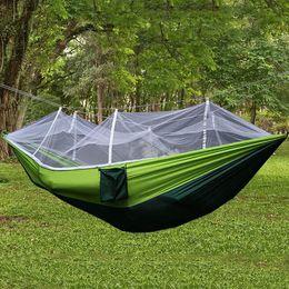 Camping & Hiking Yingtouman Sleeping Bed Parachute Nylon Outdoor Camping Hammocks Portable Hammock Swing Bed With Mosquito Net Sleeping Hammock Sports & Entertainment