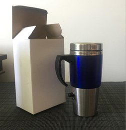 Taza de calor eléctrico online-Calentador Taza de Viaje Taza Eléctrica para Coche 450ML USB Coche Café Bebidas Termo Termoaislante Taza Caldera LJJO4585