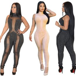 Wholesale Nightclub Jumpsuits For Women - 2018 Sexy Rhinestone Jumpsuit Fashion Sequins Stand Collar Sleeveless Sheer Bodysuits Nightclub Jumpsuits For Women Free Shipping 315