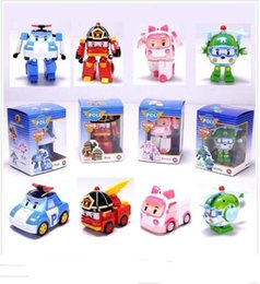 Wholesale Fantasy Models - hot deformation car poli Robocar Bubble toys 4 models South Korea Poli robot transformer Car Helly Amber Roy ABS AA+ With pack
