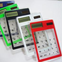 moda financeira Desconto Cartão de papelaria calculadora portátil mini portátil ultra-fino Calculadora de cartão Solar Power calculadora de tela transparente
