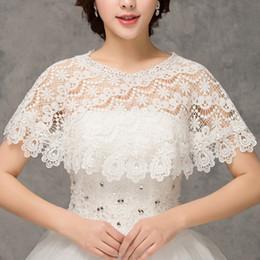 Wholesale Wedding Capes Shawls - 2018 New Elegant Bridal Wraps Wedding Bolero Lace Women Capes wedding Shawl Vintage Bridal Wraps Cheap CPA1296