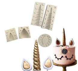 Wholesale Chocolate Cake Birthday - Silicone Unicorn Cake Mold Set with Ear Eyelashes DIY Fondant Mold Unicorn Horn Birthday Chocolate Cake Decorating Baking Mould