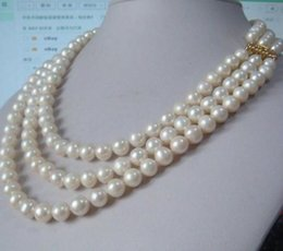 Wholesale triple gold necklace - Wholesale 7-8mm triple strands white round Pearl Necklace 17 inch 18 inch 19 inch 14k gold clasp