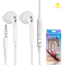 Wholesale Earphone Iphone Volume - For S6 3.5mm In-ear Earphone Earphonrs Earbuds Headset with Mic Volume Control for Samsung S6 iPhone 6S with Retail Package