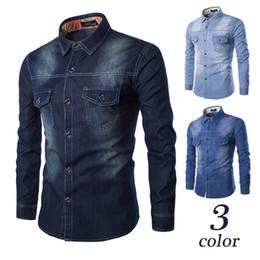 2019 camisas de bolso duplo homens Novo vento europeu e americano supersize homens denim camisa peito duplo bolsos cultivar a moralidade C993 camisa de mangas compridas camisas de bolso duplo homens barato